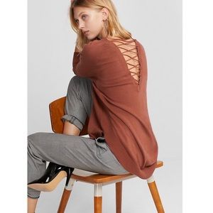 Express back lace up tunic top